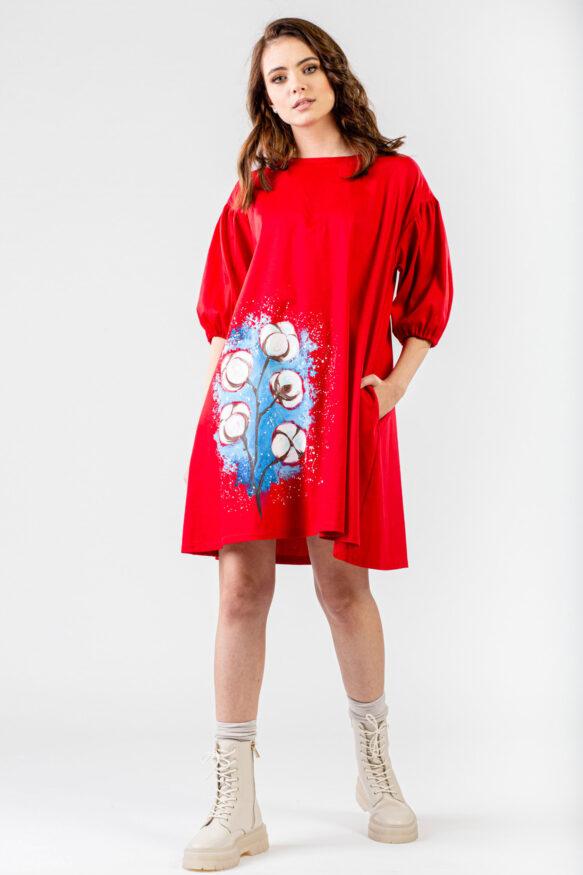 rochie-rosie-pictata-flores-1